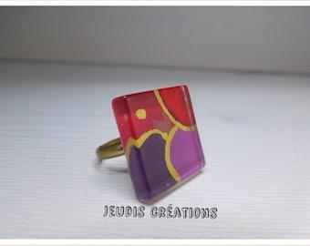 Square purple glass ring