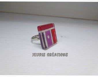 This ring square glass purple red color