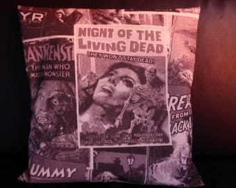 Cushion cover 40 x 40 vintage/retro poster black and white horror movie