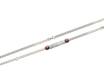 Bracelet curb 2 ladybugs with engraved silver 925/000 16 cm / 50288716