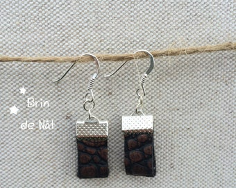 Brown faux leather copper and silver hook earrings