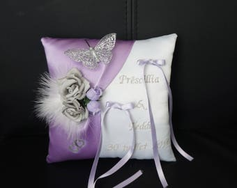 purple violet Butterfly wedding ring pillow