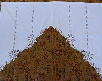 Antique C. 1920 Rustic French Linen Curtain Brise-Bise Organic Pure Linen Lace Flowers Luxury handmade File