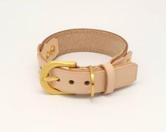 Designer handmade dog collar (leather) - Vegetable tanned leather
