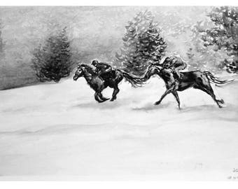 Horse race in the snow Print