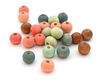 Mix of 25 pink blue beads and round Brown wooden 8 mm