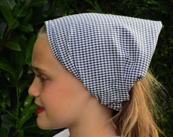 KERCHIEF / scarf for girl blue and white gingham cotton