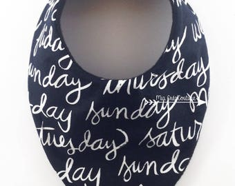 """Days of the week"" bandana bib - Monochrome Collection"