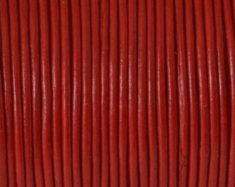 Cord of round leather 1st quality - Made in EU - 1 mm - red - 50cm