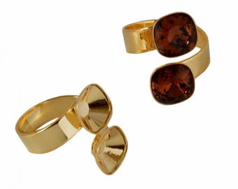 Double tea ring of brass (17.25 mm adjustable) - Swarovski 4470 - 10 mm - gold