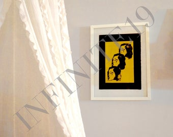 Modern Contrast print digital download black and yellow black and white