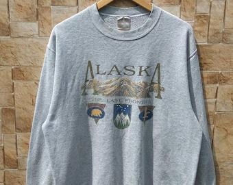 Vintage Alaska The Last Frontier Long Sleeve Sweatshirt Large Size