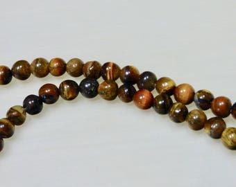 10 6mm Tiger eye beads