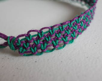 19 inch green and purple hemp necklace
