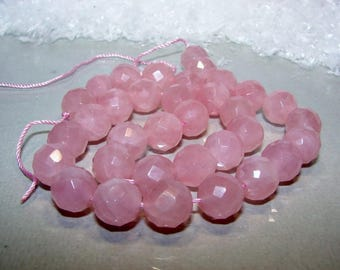 Rose quartz ball 12 mm faceted. Semi precious stone.