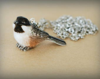 Forest chickadee necklace & silver chain