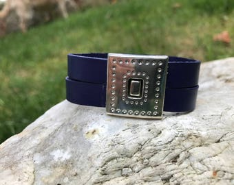 Navy blue 7 inch leather bracelet #2