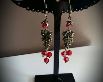 Bronze OWL earrings red faceted