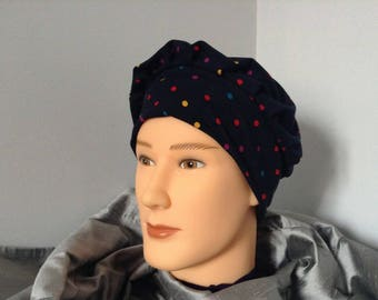 Navy Blue Jersey hat with multicolor polka dots