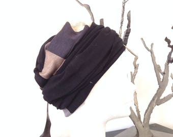 Hat thick jersey graphic black beige grey, black turban tie above for more volume