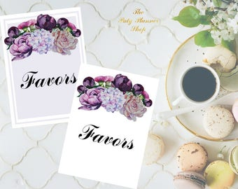 Favors Sign 8x10 and 5x7 size Printable PDF, Peonies Floral Watercolor, Bridal Shower Sign, Wedding Reception Sign, Printable PDF