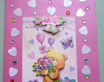 Double card for children 3 D made hand background hot pink metallic envelope