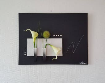 Black and white floral painting with white lilies