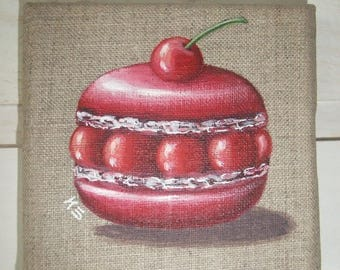 Painting painting on linen cherry macaroon