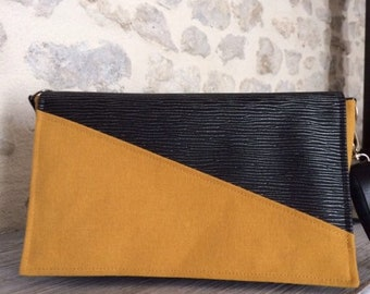 Mustard cotton bag and black/silver leatherette
