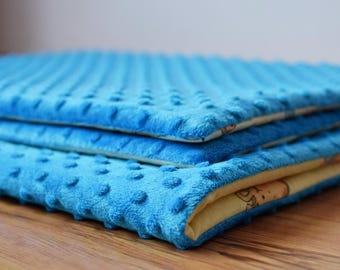 Blanket and two pillows, blue, animal, baby blanket, minky teddy giraffe