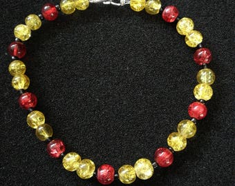 43. Yellow and Red Glass Beaded Necklace, Bracelet and Earrings Set