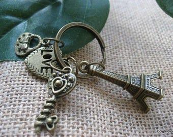 vintage bronze Eiffel Tower keychain