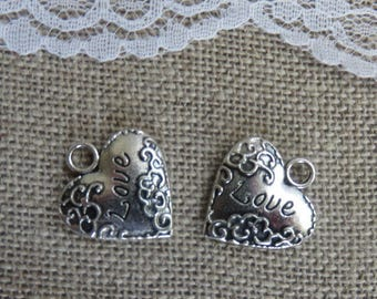charms silver metal heart charm