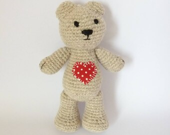 Plush teddy bear heart for the child's room