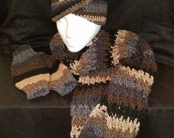 3 piece set with infinity scarf, headband and fingerless gloves
