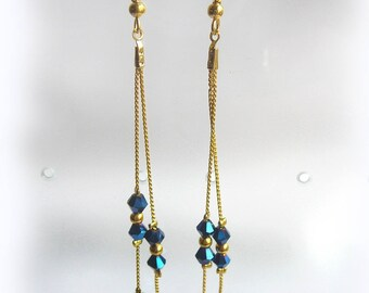 Very long and elegant blue crystal earrings