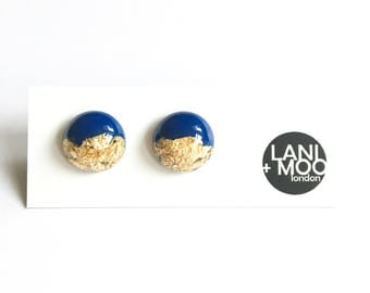 Circle Blue Resin Stud Metallic Gold Leaf Statement Earrings!