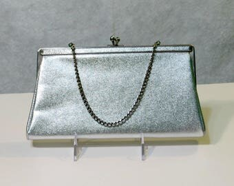 Silver Metallic Clutch Evening Bag Vintage Andé Convertible Handbag Purse Silver Chain Link Satin Lining Mid Century Fashion Accessory