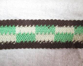 stripe Green Brown and ecru vintage 2.5 cm in height