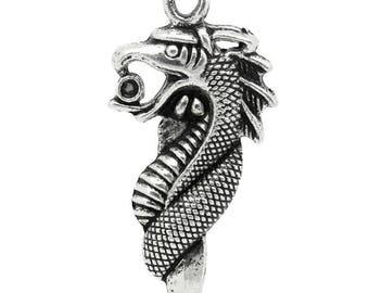 x 1 dragon 42 mm sterling silver charm.