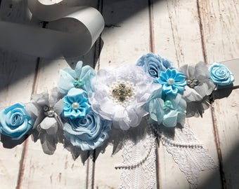 Blue Maternity Sash, Dad to be pin, Baby Blue Pregnancy Sash Belly Belt Photo Prop Gift Keepsake Baby Shower Gender Reveal Party