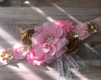 Pink and Gold Maternity Sash Pregnancy Sash Gender Reveal Party Photo Prop Gift Keepsake Baby Shower Flower Belly Belt  Belt