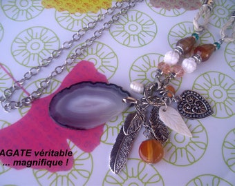 Metal, pearls, shell and AGATE NECKLACE *.
