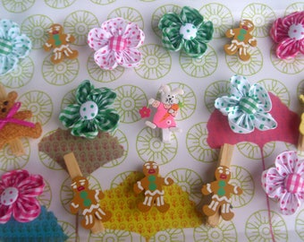 set of 16 decorative clips for snack or child's room