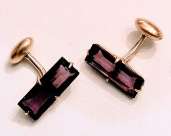 Vintage Amethyst Cuff Links