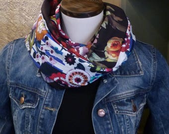 FX99 snood scarf tissue fluid jersey white base with multicolored floral patterns and flowers