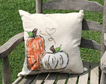 Pumpkin Couple Pillow Cover- lg rustic orange, left