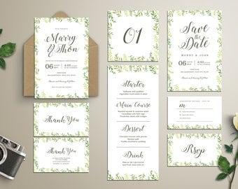 Leaves Wedding Invitation Suite - Wedding invitation Set