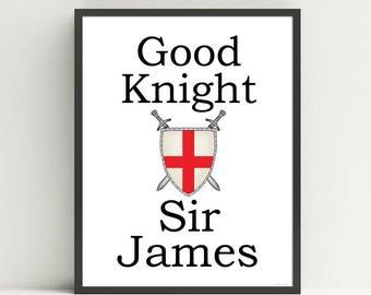 Personalized Kids Nursery Art Print, Knight Nursery Art, Good Night Art, Boys Wall Art, Nursery Art, Medieval, Name Print