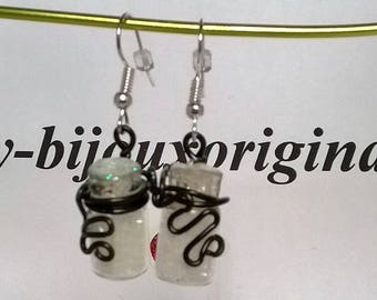 Glass earrings shaped glass bottles and the aluminum wire